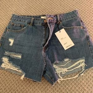 NWT distressed denim shorts